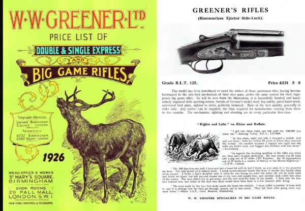 WW Greener 1926 Rifles Price List and Catalog