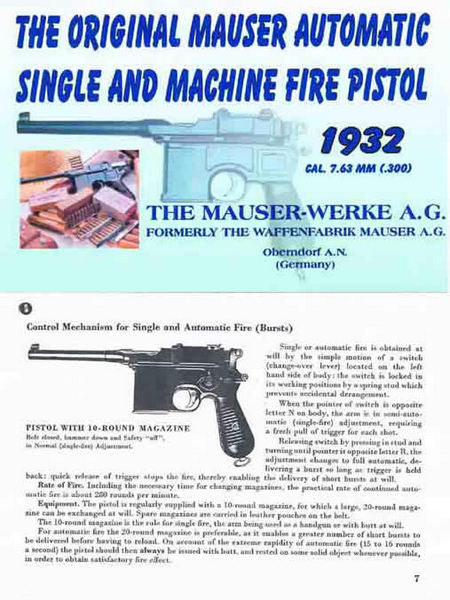 Mauser 1932 c96 Automatic Single and Machine-Fire Pistol Catalog & Manual