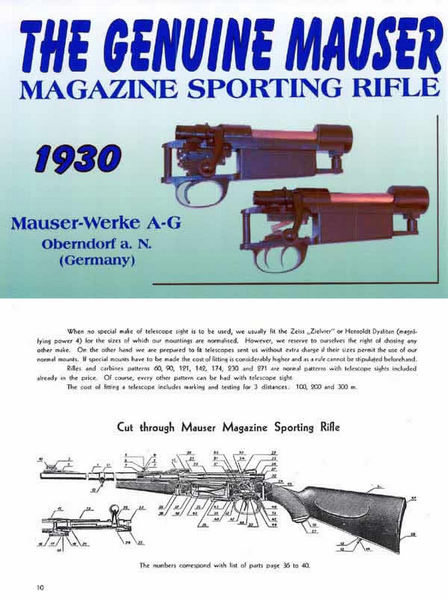 Mauser 1930 Sporting Magazine Rifles and Pistols Catalog & Manual