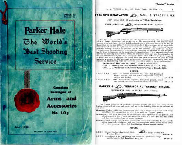 Parker Hale 1933 Catalogue of Arms and Accessories # 10 J (UK)
