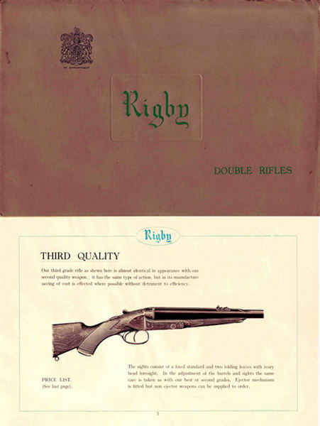 Rigby 1934 Double Rifles Catalog