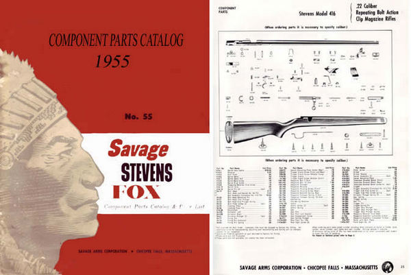 Cornell Publications -Savage 1955 Stevens Fox Component Parts Catalog