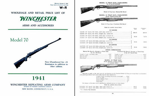 Winchester 1941 Rifle & Shotgun Catalog- January