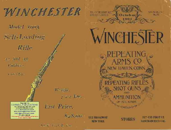 Winchester 1905 Oct Rifle, Shotgun & Ammunition Catalog no 72