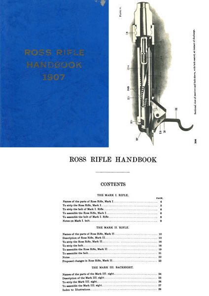 Ross 1907 Handbook Mks. I Rifle, II Rifle, III (Backsight) Handbook