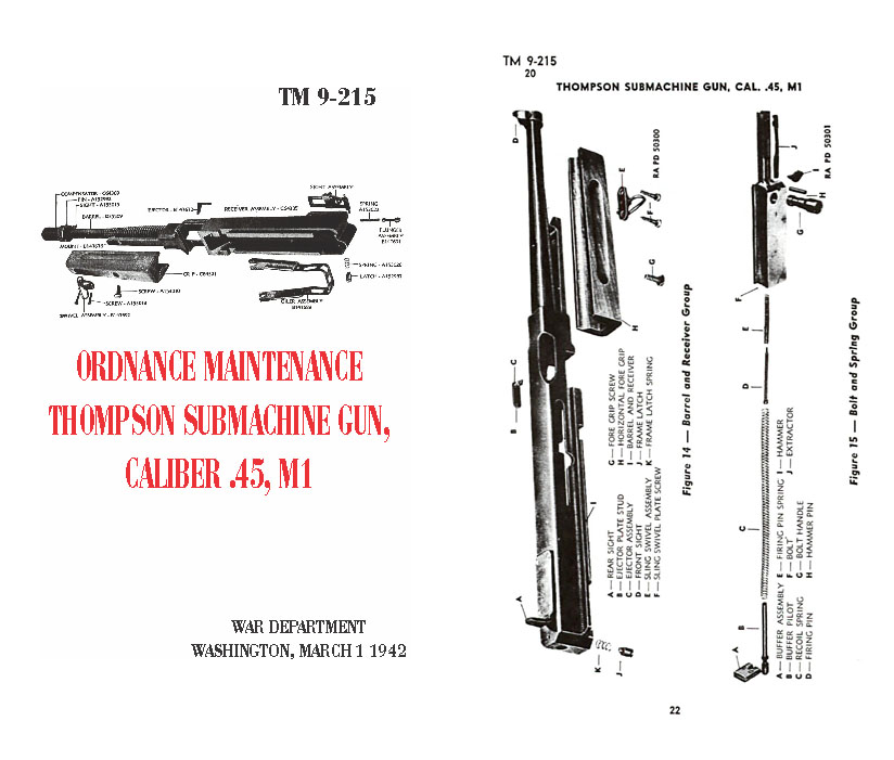 Thompson March 1942 Ordnance Maint M1, M1A1, TM9-215 Manual
