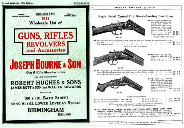 Joseph Bourne & Son (UK) 1912 Gun Catalogue