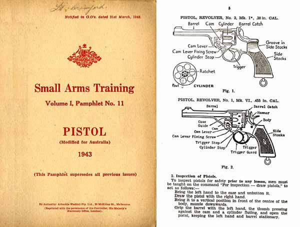 Enfield/Webley .38 Revolver/Pistol 1943 - Australian Small Arms Training- Manual
