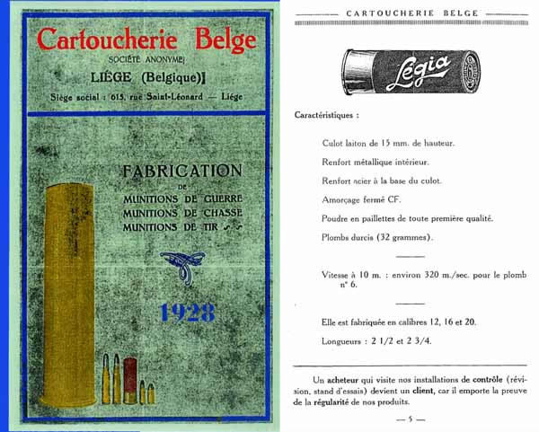 Cartoucherie Belge 1928 Gun Ammunition Catalog