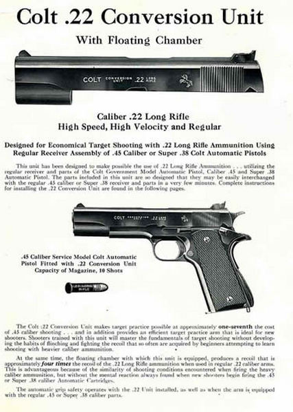 Colt 1948 Fire Arms .45 auto to .22 auto Conversion Manuals