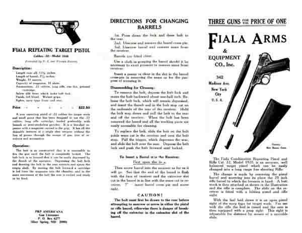Fiala Arms Co 1920 Flyer
