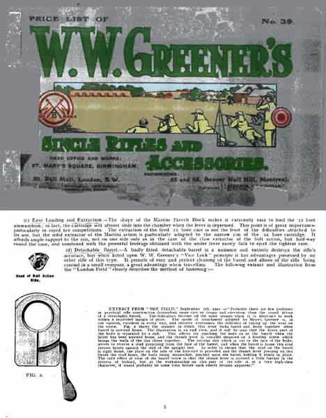WW Greener 1918 - No. 39 Gun Catalog (England)