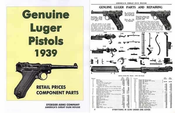 Genuine Luger Pistols 1939 Stoeger Gun & Parts Catalog