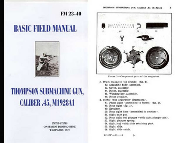 Thompson 1949 SMG M1928A1 .45 Caliber Basic Field Manual