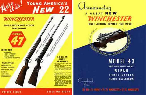Winchester c1949 Models 43 & 47 Announcement Flyers