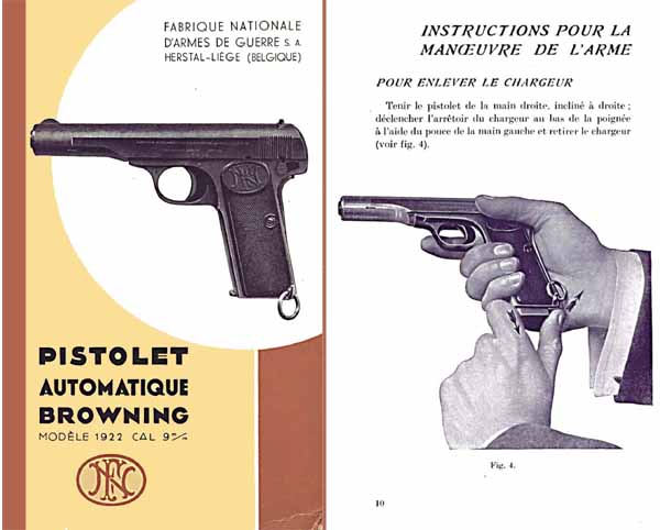 Browning 1936 Pistolet Automatique Modele 1922 (9mm) Catalog- Manual