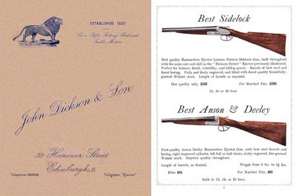John Dickson & Son (UK Edinburgh) 1935 Gun Catalog