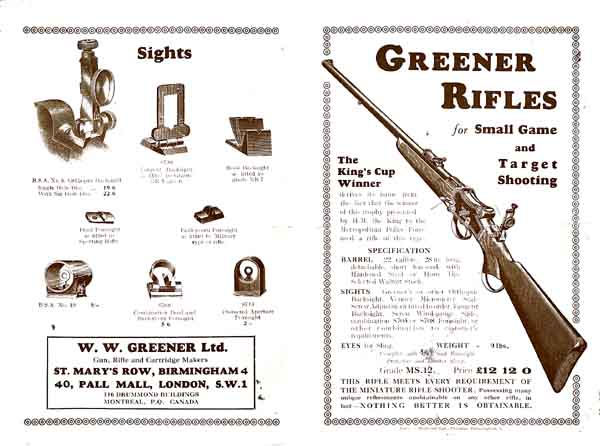 WW Greener c1924 Small Game and Target Rifles Catalog