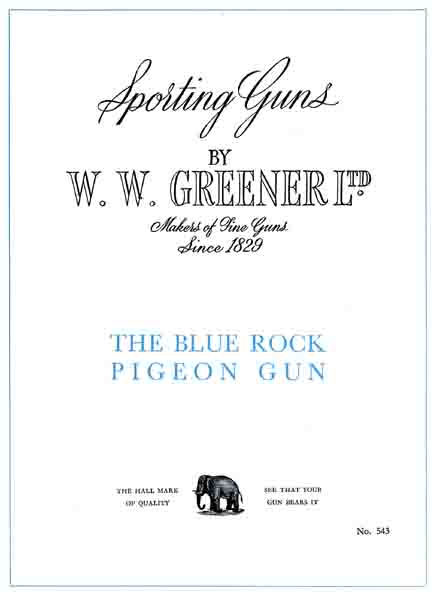 WW Greener c1950 Blue Pigeon Gun Catalog