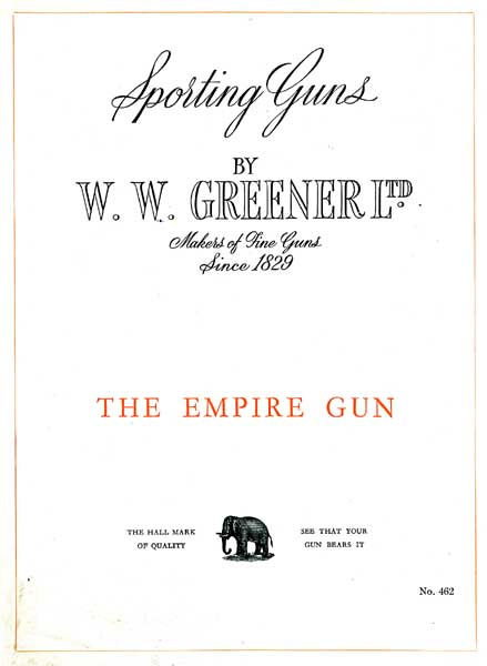 WW Greener c1950 Empire Gun Catalog (England)