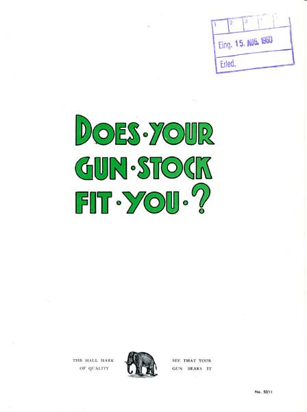 WW Greener c1960 Stock and Measure Gun Catalog