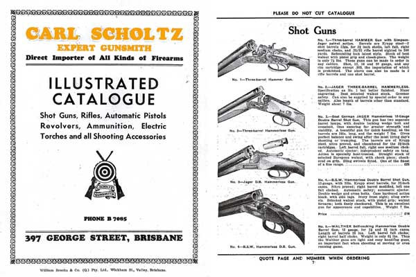 Carl Scholtz Gun and Accessory 1938 Catalog (Brisbane, Australia)