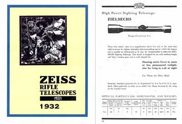 Zeiss (Ger) Rifle Telescopes 1932
