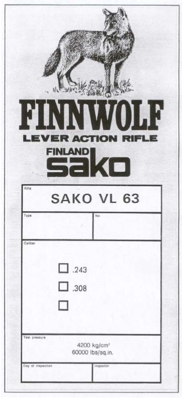 Sako Finnwolf Lever Action Rifle Operations manual