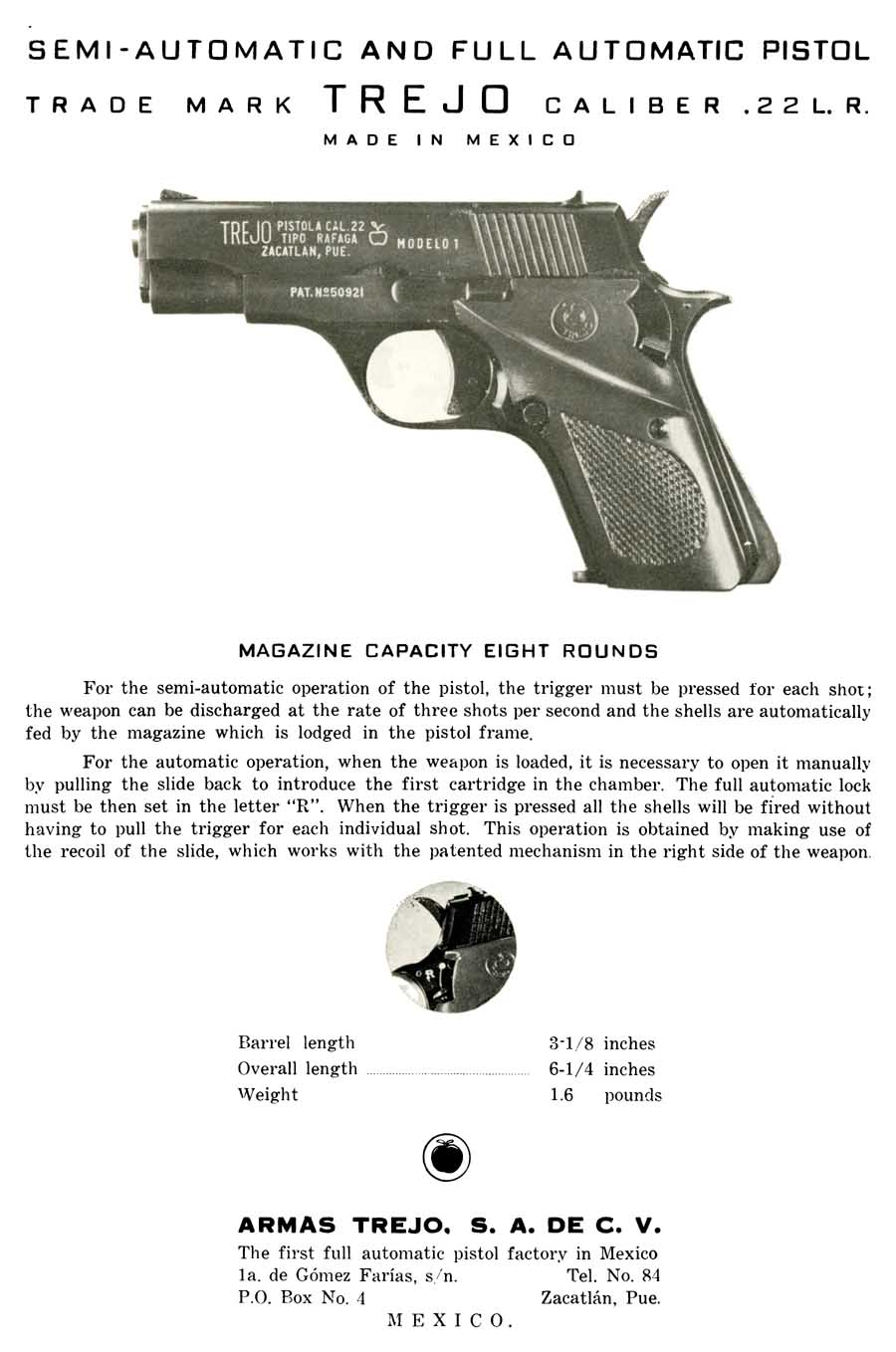 Modelo 1 c1963 22 cal Semi-Full Automatic Pistol Parts Flyer Armas Trejo (Mexico)