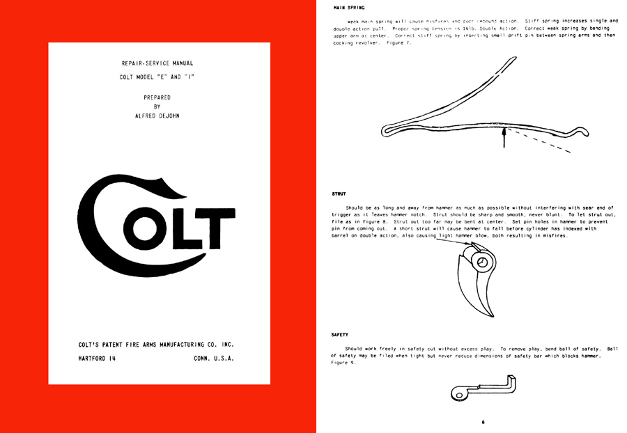 Colt 1960 (circa) Model E & I Repair Manual by Alfred DeJohn