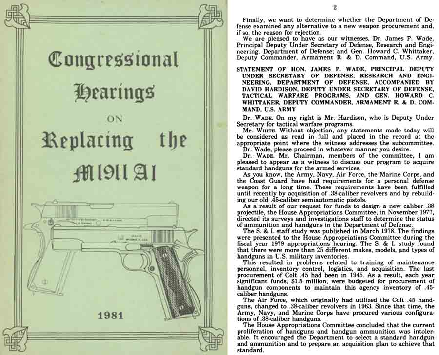 Congressional Hearings on Replacing the M1911A1- 1981