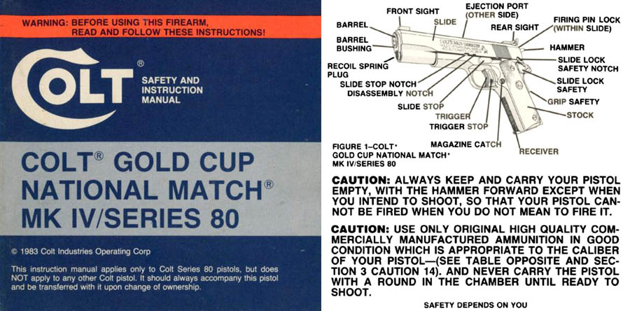 Colt 1983 Gold Cup National Match MK IVSeries 80 Manual
