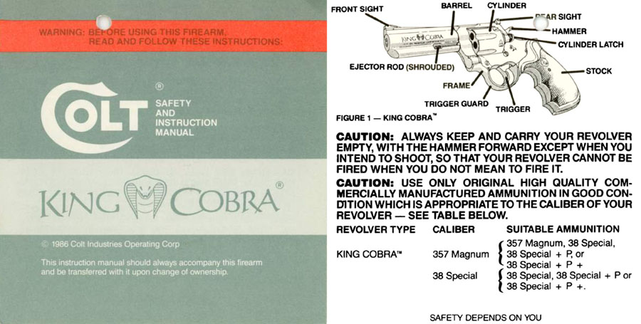 Colt 1986 King Cobra Manual