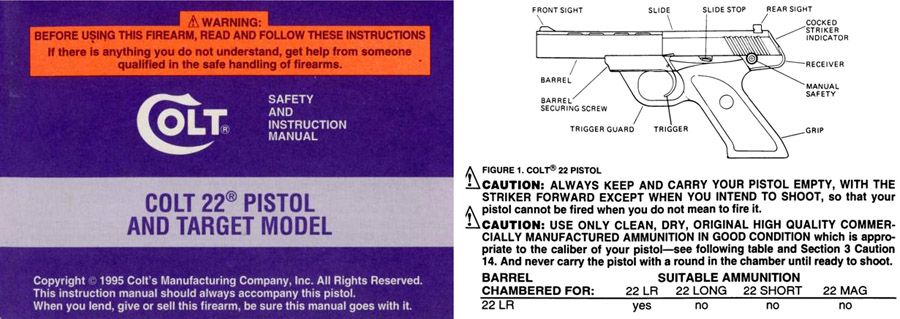 Colt 1995 .22 Pistol and Target Model Manual