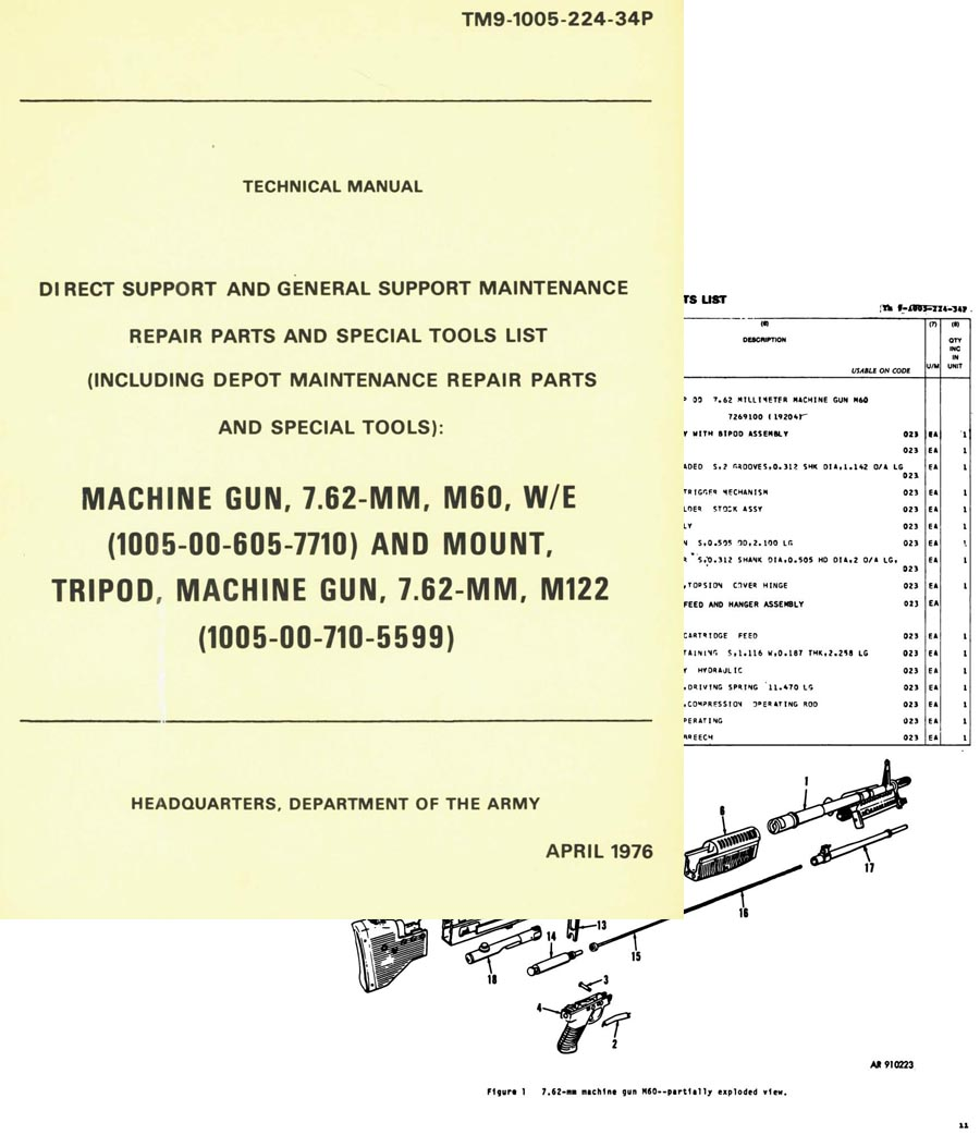 M60 1976 W-E and Tripod Support Maint. TM9-1005-224-34P