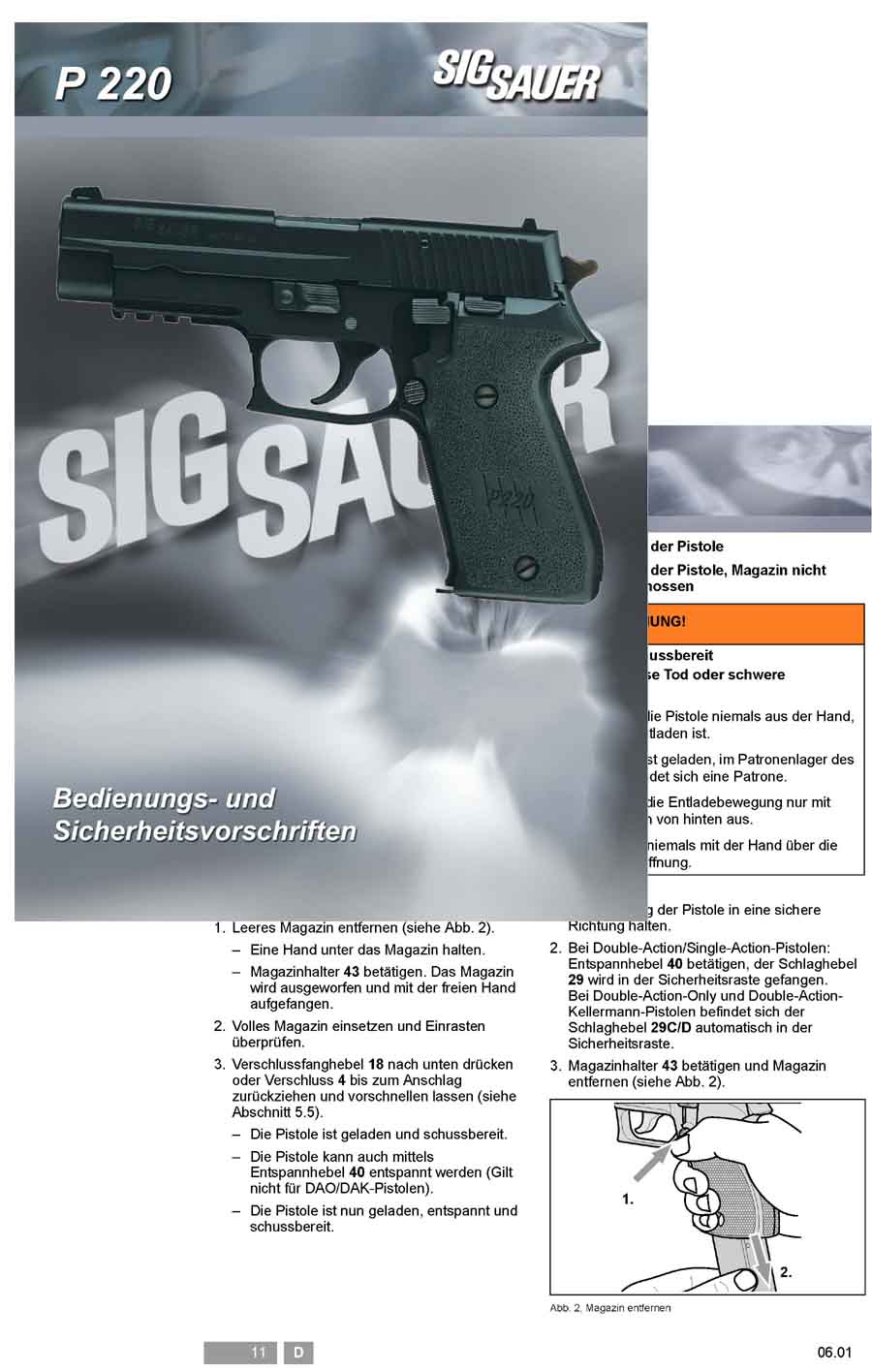 Sig P220 Sauer Manual (Text in German)