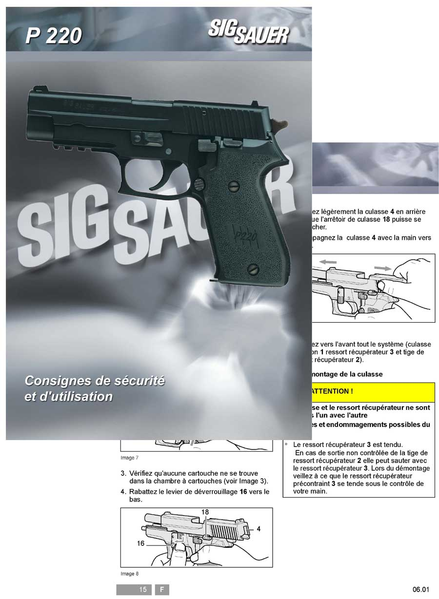 Sig P220 Sauer Manual (Text in French)