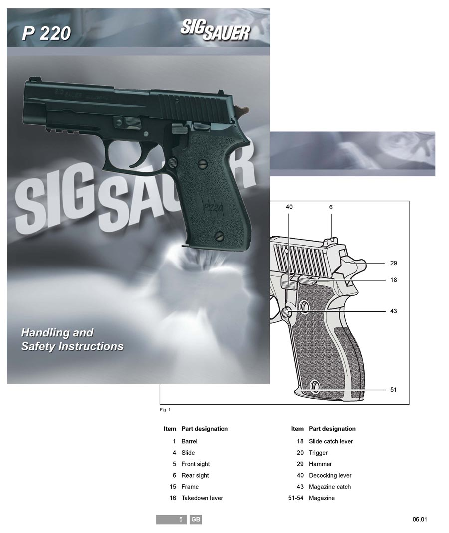 SIG P220 Sauer Manual (Text in English)