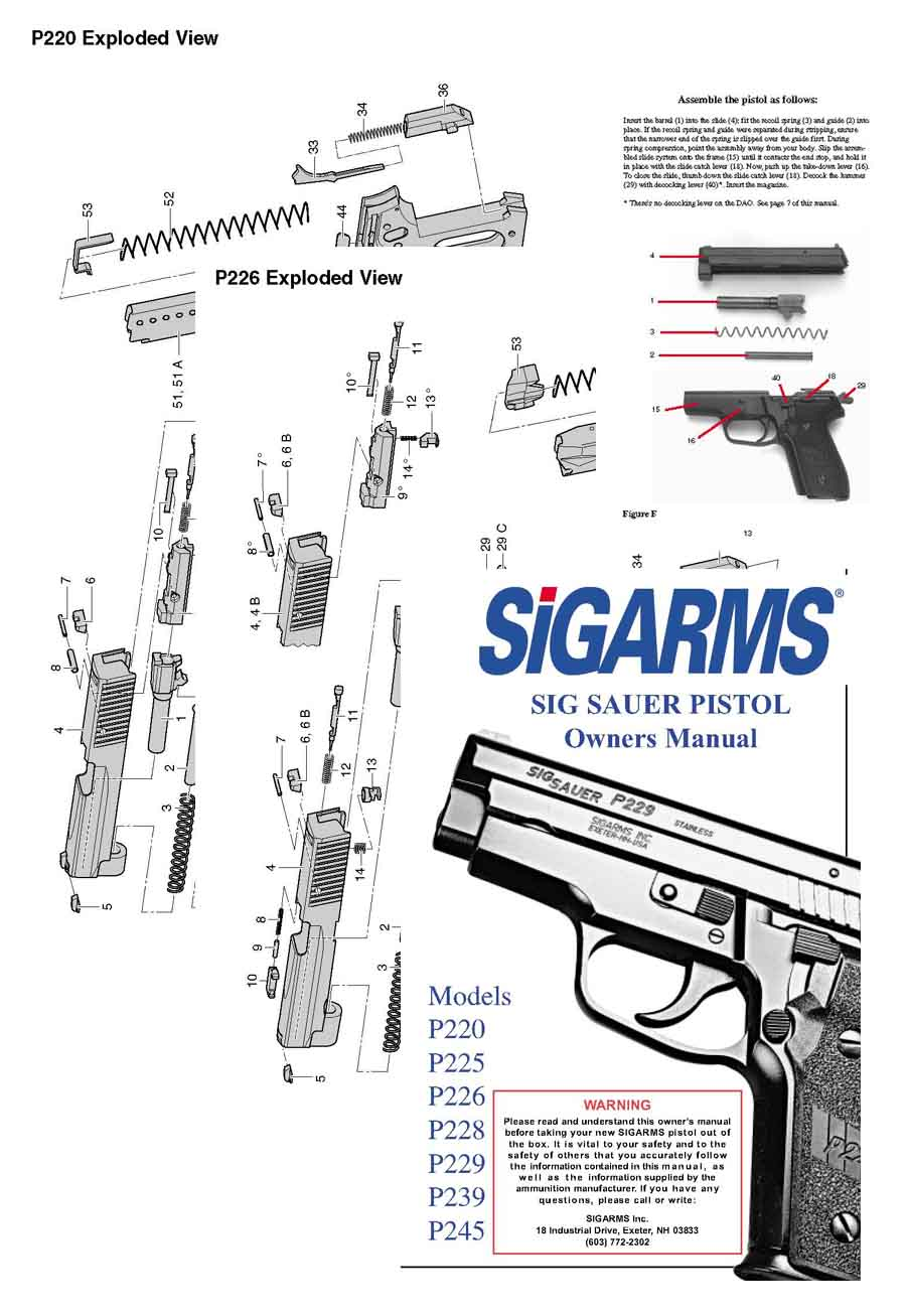 SIG P220, P225, P226, P228, P229, P229, P239, P245 Manual English
