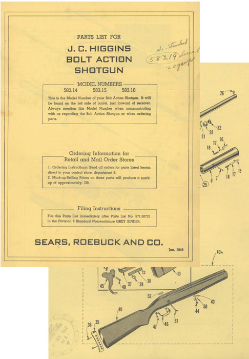 Sears - JC Higgins 1949 Bolt Action Shotgun Manual
