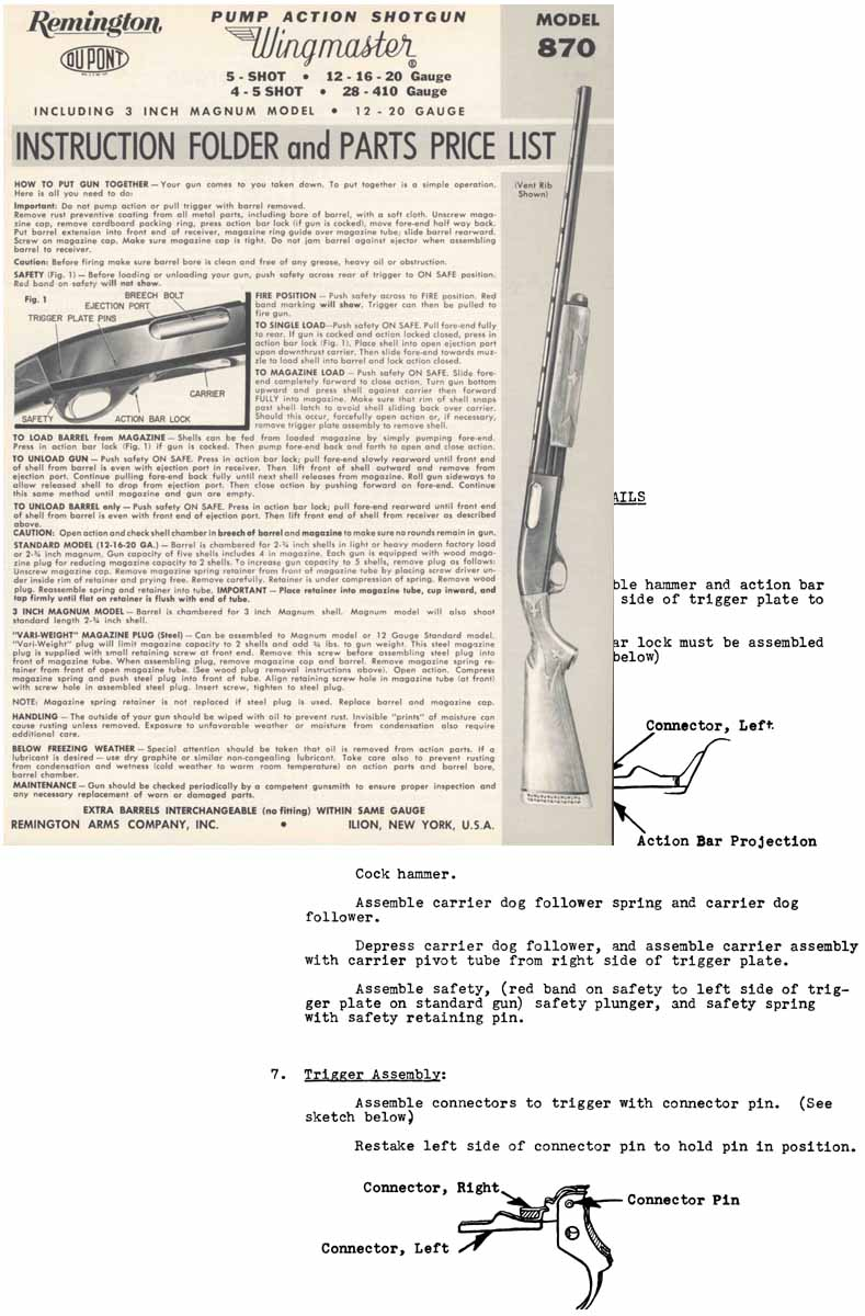 Cornell Publications Llc Links To Remington Catalog Reprints 1187 Diagram Http Wwwgun Partscom Remingtonshotgun Model 870 Field Manual Introduced In 1949