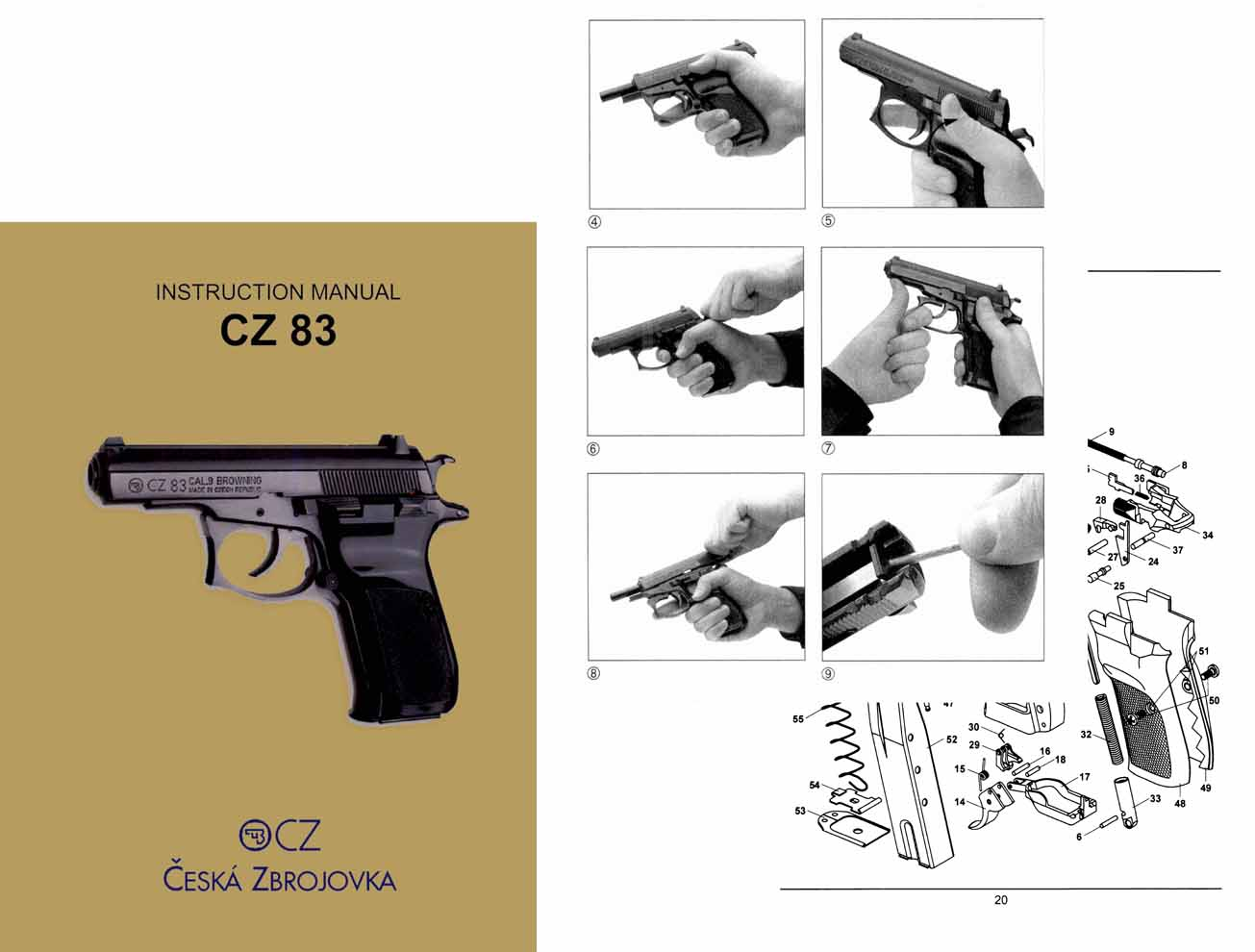 CZ-83 Double Action Czech Pistol Manual