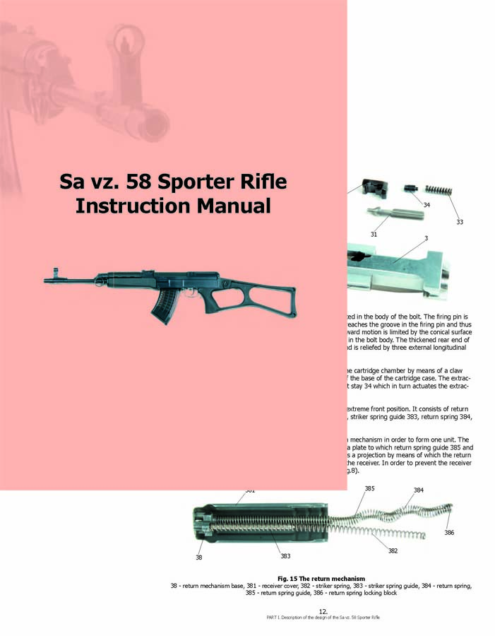 Sa VZ. 58 Sporter Rifle Manual (Czech- Text in English)