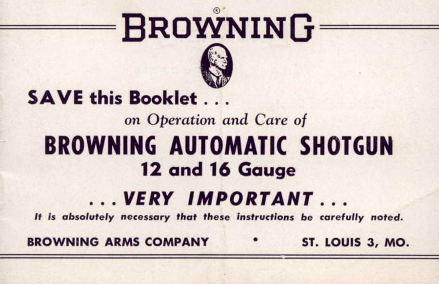 Browning 1954c Automatic Shotgun Owner's Manual