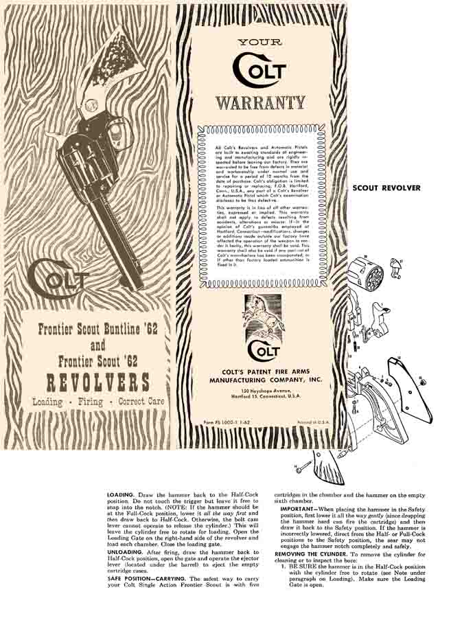 Colt Frontier Scout 62 Single Action Revolvers Safety Instruction Manual