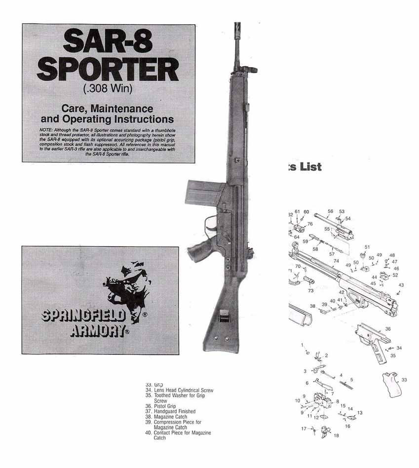 Springfield SAR8 Sportster .308 Safety & Instruction Manual