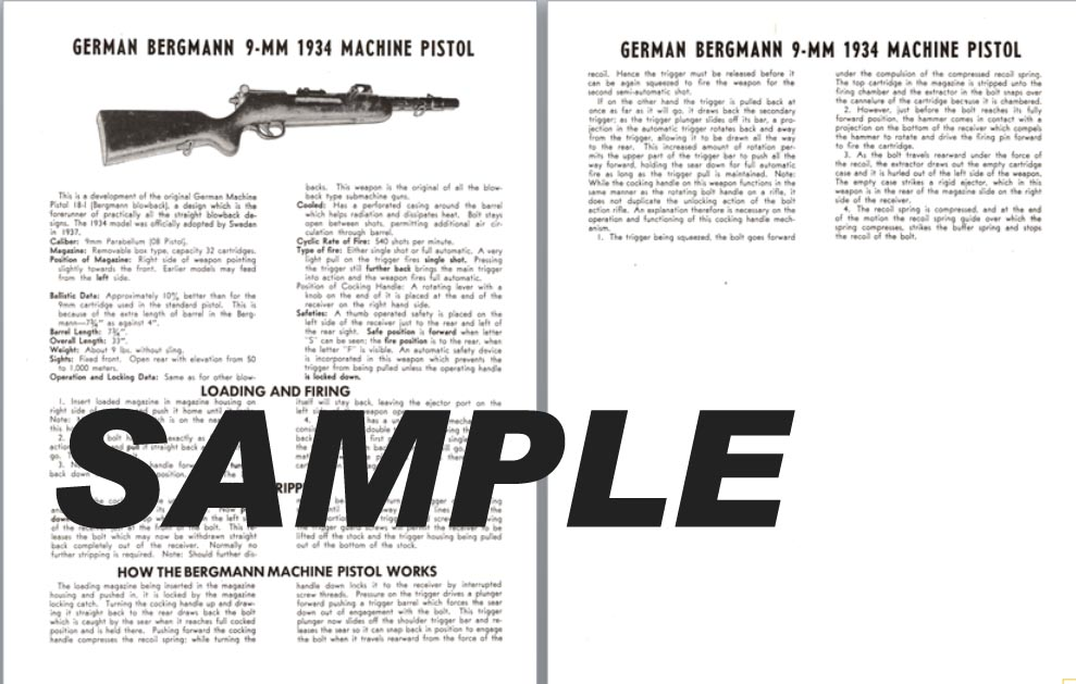 Bergmann (German) 9mm 1934 Machine Pistol Manual