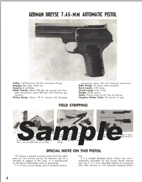 Dreyse (German) 7.65mm Automatic Pistol Field Stripping