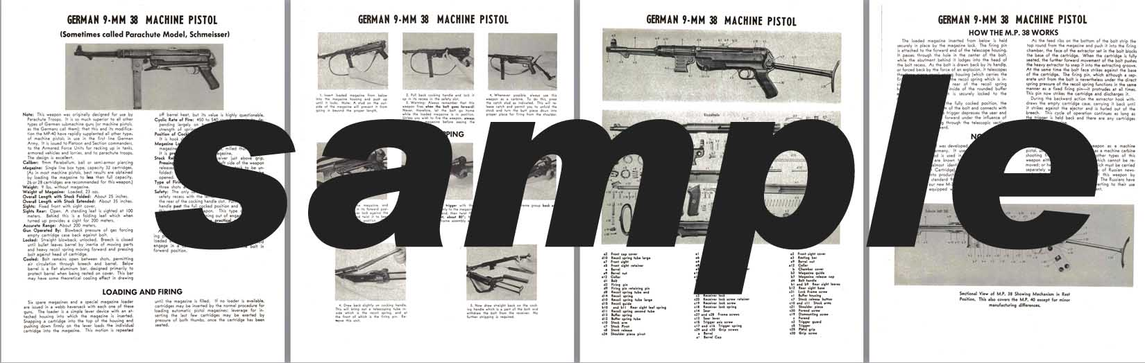 MP38 German 9mm 38 Machine Pistol Manual
