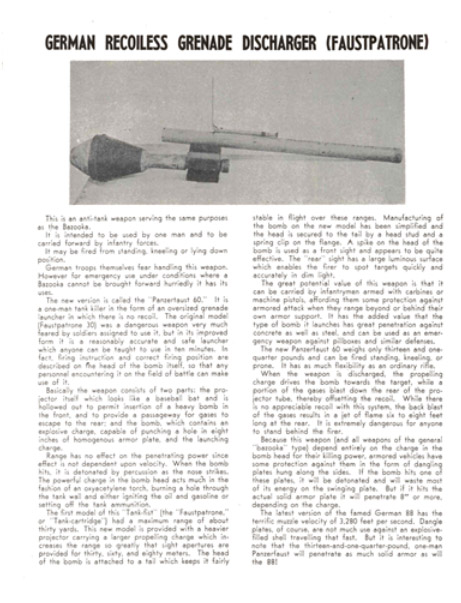 Faustpatrone - German Recoiless Grenade Discharger Description